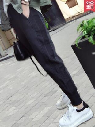 加絨運動褲女寬松束腳2020新款秋冬衛褲顯瘦哈倫外穿加厚休閑褲子