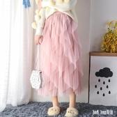網紗半身裙子蛋糕裙中長款抖音仙女裙網紅chic溫柔超仙 QG19181『Bad boy時尚』