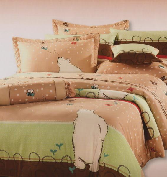 單品 (不含被套)-北極熊-卡其、100%精梳棉【標準雙人床包5X6.2尺/枕套】