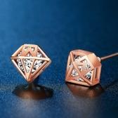 耳環 玫瑰金純銀鑲鑽-鑽石造型生日情人節禮物女飾品73hk21【時尚巴黎】