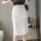 不規則半身裙中長款2021春夏新款職業開叉包臀裙設計感高腰一步裙 快速出貨