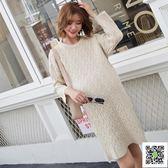 孕婦秋冬季針織洋裝韓版時尚孕媽裝中長款孕婦裝毛衣裙子潮 玫瑰女孩