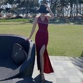 吊帶V領洋裝女年會紅色開叉小洋裝性感露背顯瘦度假沙灘裙長裙 幸福第一站