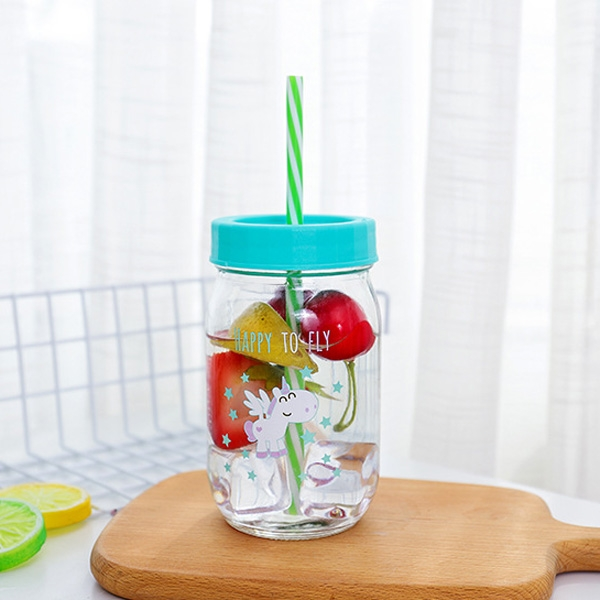 【BlueCat】獨角獸透明玻璃梅森瓶水壺 水杯 (480ml)