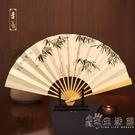 吉善9寸玉竹手繪扇子折扇中國風手繪紙扇出國禮品扇文玩玉骨竹扇 小時光生活館