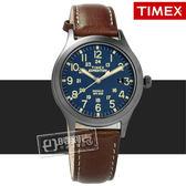 TIMEX 天美時 / TXTW4B11100 / 美國指標專利照明復古簡約日期真皮手錶 藍x灰框x褐 36mm
