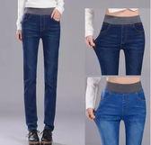 牛仔褲女高腰胖mm大碼鬆緊腰小直筒新款春秋女裝長褲學生  良品鋪子