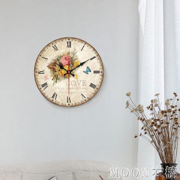 大號餐廳掛鐘錶客廳歐式田園風靜音時鐘創意藝術裝飾壁鐘現代簡約    MOON衣櫥