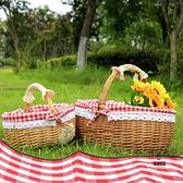 野餐水果籃藤編籃子手提日式買菜雞蛋籃收納籃購物籃小竹籃禮品籃【愛物及屋】