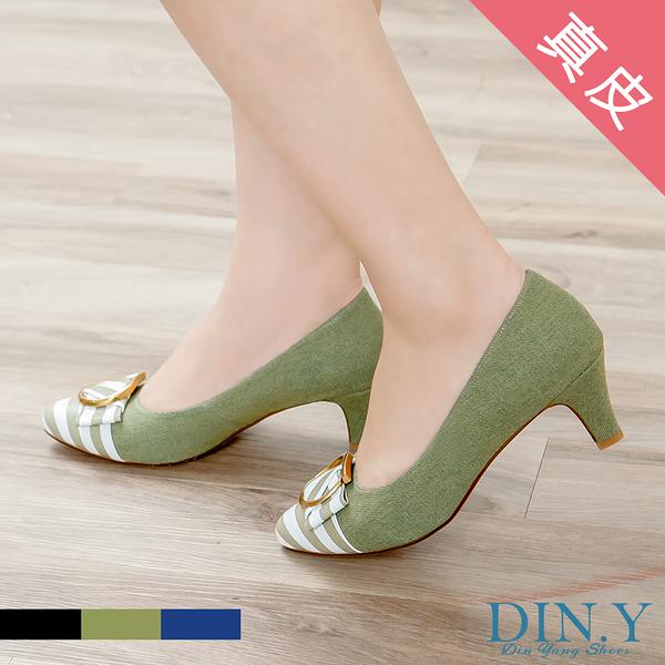 個性條紋真皮中跟鞋(綠) 尖頭.粗跟.豚皮.跟鞋.條紋.牛仔布面.女鞋【S056-11】DIN.Y