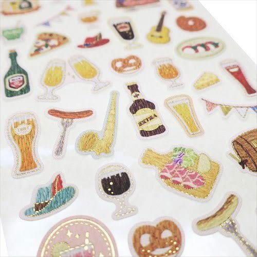 日本製金箔鑲飾仿刺繡系列貼紙(慶祝酒會)★funbox★KAMIO_KM08496