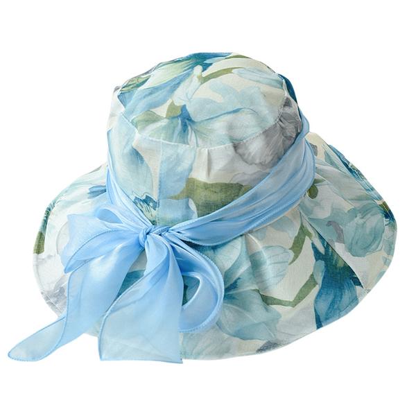漁夫帽-印花蝴蝶結紗帶大帽簷女遮陽帽6色73vf2【時尚巴黎】
