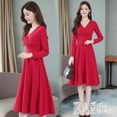紅色連身裙秋裝2019年新款V領性感小紅裙收腰顯瘦中長款大尺碼洋裝 XN4295『麗人雅苑』