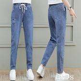 牛仔褲哈倫長褲女2020新款秋冬寬鬆顯瘦顯高鬆緊腰小腳加絨褲子潮 雙十一特價