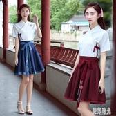 漢服女夏改良古裝日常短袖中國風古風漢元素漫展學生套裝清新淡雅上衣半身裙 zh7899『美好時光』