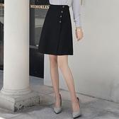 顯瘦半身裙女夏季2021新款a字工裝高腰黑色西裝正裝中長款職業群  【夏日新品】