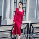 洋裝法式復古紅色連身裙赫本修身包臀魚尾長裙氣質禮服春裝2021年新款 【快速出貨】