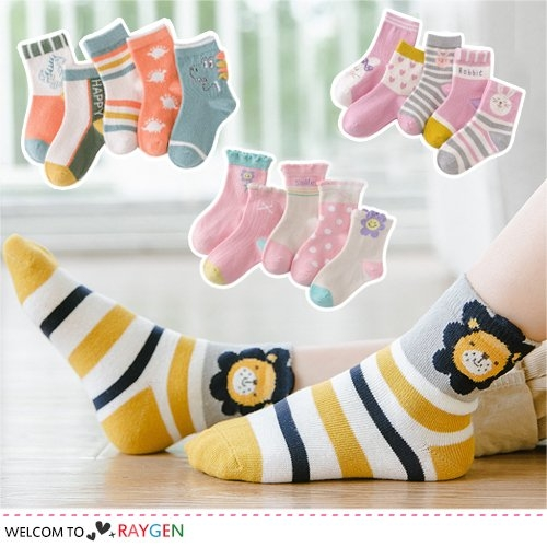兒童多款童趣卡通動物襪 短襪 中筒襪 5雙/組