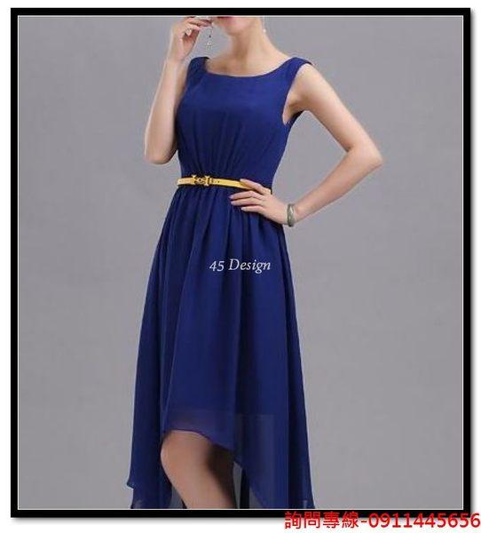 (45 Design) 訂做款式7天到貨  新娘淺藍色敬酒小禮服 伴娘姐妹服 蝴蝶結顯美公主裙修身