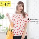 印花T恤--炎夏清涼滿版西瓜印圖圓領棉質短袖T恤(白.灰L-3L)-T351眼圈熊中大尺碼