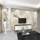 中式花鳥電視背景牆壁紙客廳臥室裝飾牆紙簡約現代8d壁畫影視牆布 小明同學