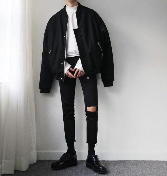 韓國時尚修身簡約純色單膝蓋破洞磨邊九分小腳牛仔褲