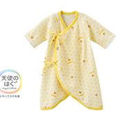 MIKI HOUSE BABY 日本製 可愛小熊麻葉針織新生兒蝴蝶衣(黃)