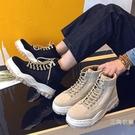 秋季厚底馬丁靴男英倫風百搭學生中筒鞋子男增高韓版潮高筒老爹鞋