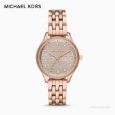 MICHAEL KORS經典滿版logo玫瑰金時尚腕錶MK6799