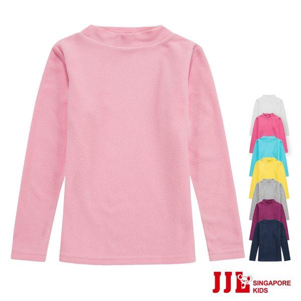 JJLKIDS 女童 小立領素面搖粒絨長袖上衣(8色選)