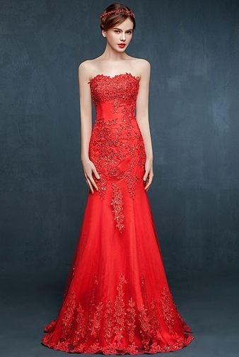 魚尾婚紗結婚禮服新娘紅色敬酒服長款修身晚禮服夏-ming0014