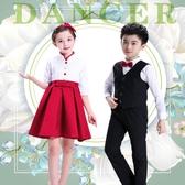 兒童合唱服演出服中小學生合唱團女童主持人元旦朗誦比賽表演服裝‧時尚