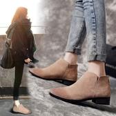 馬丁靴女春秋單靴2020新款平底短靴尖頭裸靴平跟靴子短筒 露露日記