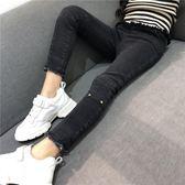 女童秋冬褲子新款兒童韓版中大童寶寶洋氣加絨加厚小腳牛仔褲