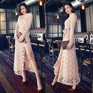 洋裝 韓版 名媛氣質蕾絲鉤花高腰系帶長款開叉連衣裙 小禮服