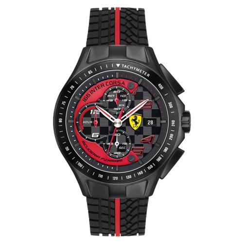 FERRARI Scuderia 急速時尚風黑鋼膠帶腕錶/0830077