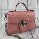 BRAND楓月 GUCCI 古馳 583571 粉色MARMONT HANDLE 銀釦 手提包 斜背包 側背包 肩背包