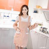 韓版時尚圍裙防污廚房防油美甲店圍腰棉布可愛美容院工作服女做飯 金曼麗莎