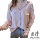 EASON SHOP(GW4731)韓版百搭款純色假口袋長版排釦長袖雪紡襯衫女上衣服落肩寬鬆內搭顯瘦修身閨蜜裝