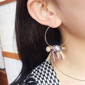 耳環 立體 花朵 流蘇 水晶 多元素 圓狀 耳環【DD1707101】 BOBI  05/24