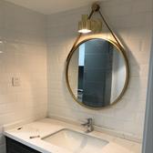 北歐式衛生間鏡子化妝鏡浴室鏡子免打孔壁掛鏡洗手間鏡子大圓鏡子【快速出貨】