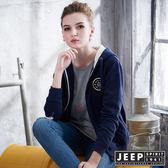 【JEEP】女裝 簡約北極熊圖騰刷毛造型外套 (藍)