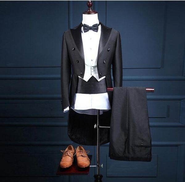 燕尾西裝 韓版修身男新郎小西服職業西裝結婚禮服套裝 演出服【中秋節禮物八折搶購】