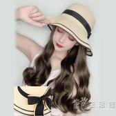 漁夫假髮帽子一體時尚女夏天韓版潮帶草帽長卷髮百搭網紅款小清新 小時光生活館