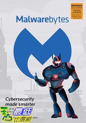 [9美國直購] Malwarebytes 4.0 Latest Version   Amazon Exclusive   18 Months, 2 Devices (PC, Mac, Android)