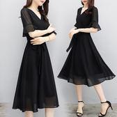 聖誕交換禮物涼感短袖洋裝赫本小黑裙女裝夏季修身顯瘦黑色雪紡洋裝氣質中長裙 法布蕾