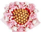 娃娃屋樂園~粉真心愛妳-豪華情人節 36顆金莎+14隻小熊花束 每束3200元/情人節花束