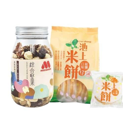 【MOS摩斯漢堡】堅果米餅組(無調味堅果1罐+池上椒鹽米餅1包)