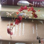 甜美韓式新娘婚紗配飾靈動蝴蝶花朵蜻蜓發箍盤發發飾結婚紅色頭飾