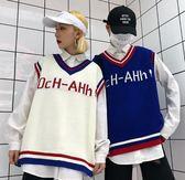 店長推薦韓國復古字母印花V領針織毛衣馬甲背心 18AW男女款